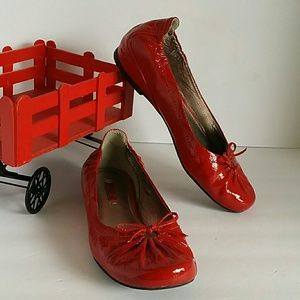 ECCO red leather patent flats, sz 38